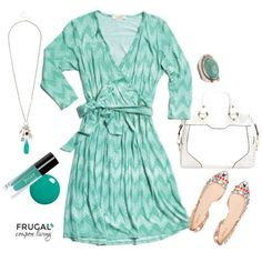 Frugal Fashion Friday Wrap Dress Outfit, we love this wrap dress from Stitch Fix with JULEP Nail Polish, Adorable Flats, and jewelry. Polyvore Ouutfit of the Day.