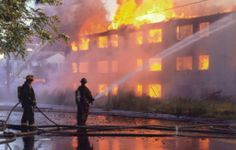 This photo shows firefighters putting out the fire on an apartment complex. This was one of many suspicious arson cases in Detroit.