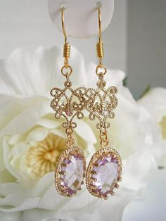 Lavender Bridal Earrings  Lilac Wedding Jewelry  Light Purle