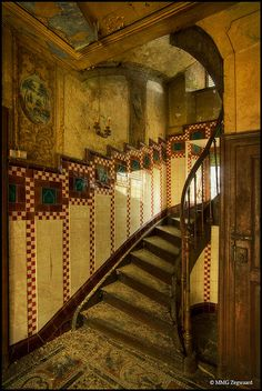 Maison Heinen, Luxembourg - the beautifully intricate tile work, along with the oval shape of the staircase indicates a family of wealth...