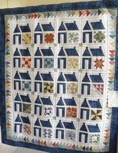 love schoolhouse quilts-no info but very cool use of sampler blocks and look at the boarder with two colors House Quilt Patterns, House Quilt Block, Quilt Blocks, Small Quilts, Mini Quilts, Quilting Projects, Quilting Designs, Sampler Quilts, Traditional Quilts
