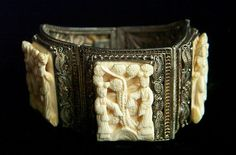 Extremely rare Chinese export antique carved mah jong panels silver bracelet