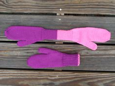 These mittens are constructed by knitting from the tip of one mitten to the tip of the other mitten, then picking up stitches to knit the thumbs. After construction, one side is inserted into the other so they are double-thickness, not double knitting.