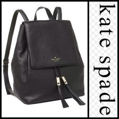 "♠️Kate Spade Wilder Black Leather Backpack Bag♠️ Right on trend and super versatile! Brand new with tags and dustbag! Black pebble leather bucket style backpack by Kate Spade. Features drawstring closure with tassels and 14k plated gold hardware. 2 interior multifunctional pockets and 1 zip pocket. Adjustable shoulder straps 19""-23"". Measures 15""x 11.5""x 5.5"". Retail $378 kate spade Bags Backpacks"