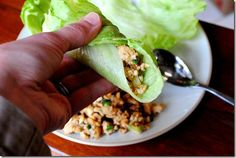 PF+Chang's+lettuce+wraps+at+home   Ingredients:  1lb+ground+chicken+breast  1/2+medium+onion,+minced  salt++pepper,+a+dash+of+each  2+large+cloves+garlic,+minced  1+inch+nob+fresh+ginger,+peeled++minced  1+Tablespoon+sesame+oil  2+1/2+Tablespoons+soy+sauce  1/2+Tablespoon+water  1+Tablespoon+natural+peanut+butter  1