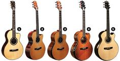 By luthier Kevin Ryan from Westminster, California, USA. The models shown are: 1. Abbey Grand Parlor ( smallest), 2. Mission Grand Concert ( that put him on the map as a luthier), 3. Paradiso Grand Concert ( his newest model), 4. Nightingale Grand Soloist ( fingerstyle guitar size between Mission and Cathedral), 5. Cathedral Grand Fingerstyle ( Jumbo).