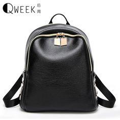 QWEEK New Arrival Women Backpack Rivet Simple 2017 Casual School Bag Medium Size PU Leather Backpack Mini Girl's Daily Bag Black #Affiliate