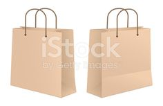 Craft Paper Shopping Bag Front And Rear View royalty-free stock vector art