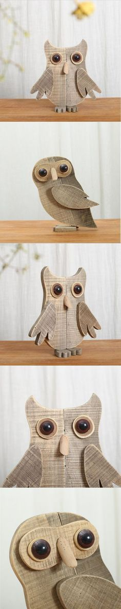 """Primitives By Kathy Painted Wood Stand-Up Owl Choice Of 3 Color Schemes 4.75/"""" H"""