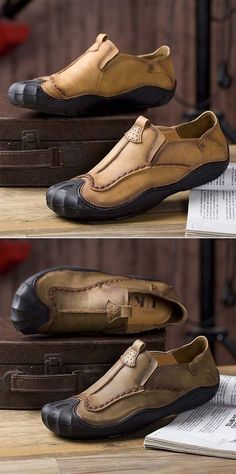 5fb8ac0d5ed2 US$34.01 Men Genuine Leather Handmade Stitching Slip On Soft Soles Casual  Shoes Bőr Férfidivat, · Bőr FérfidivatCipők FérfiConverse ...