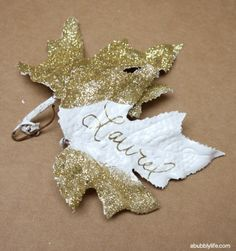 DIY gold leaf place cards for Thanksgiving decor