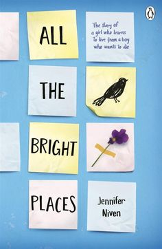 All the Bright Places, by Jennifer Niven Theodore Finch wants to take his own life.   Violet Markey is devastated by her sister's death in a car accident which she survived.  They meet on the ledge of the school bell tower, and so their story begins. It's only together they can be themselves.