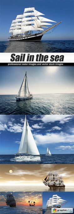 Sail in the sea  stock images