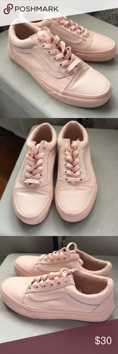 Vans Old Skool Pink Womens These are practically brand new! Worn once around the house to test comfort. Womens size 6.5 and these are pastel pink. Vans Shoes Sneakers