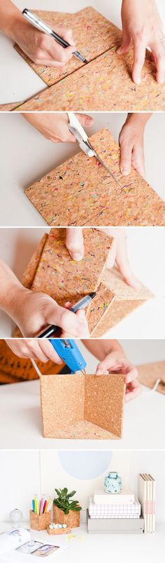 How to make geometric DIY office organizers with sheets of cork