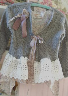 2pc Sweater and Top Vintage Lace Wool Marbled by OfLinenandLace, $73.50