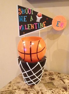 Basketball Valentine box: Made with a flower pot & glass bowl!