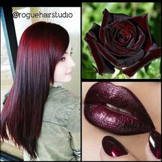Inspired by a flower! Beautiful mahogany hair color, lipstick lip color and nail lacquer color by Melissa Meacham @roguehairstudio