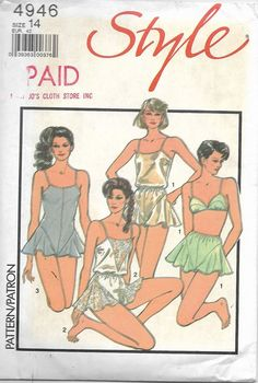 Style 4946 - Vintage 1980s TEDDY, CAMISOLE, French KNICKERS & Bra - Sewing Pattern - Size 14