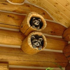 #Cabin Interiors & Decor ... #log #cabins#wood carvings #raccoons
