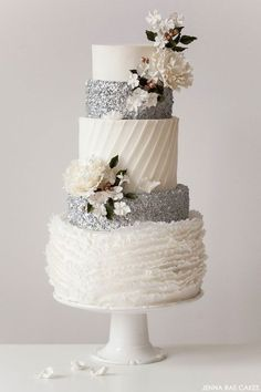 Tartas de Boda - Wedding Cake - All the different textures on this white & silver wedding cake are divine! // Cake by Jenna Rae Cakes Beautiful Wedding Cakes, Gorgeous Cakes, Pretty Cakes, Amazing Cakes, Magical Wedding, Wedding Cake Inspiration, Wedding Ideas, Rustic Wedding, Elegant Wedding