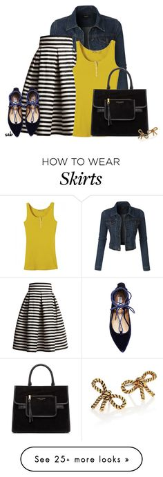 """Denim Jacket & Midi Skirt"" by coombsie24 on Polyvore featuring LE3NO, Rumour London, Steve Madden and Marc Jacobs"