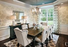 Superb Buffet Table Design Ideas in Dining Room Transitional design ideas with area rug beige dining chairs blue buffet