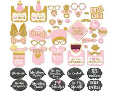 37 Pink Glitter Baby Shower Photo Booth Props INSTANT Baby Shower Photo Booth, Baby Shower Games, Funny Poses, Bump Ahead, Foil Paper, And So The Adventure Begins, Photo Booth Props, Pink Glitter, Pink And Gold
