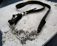Urban Primitive: Silver Links, Rings and Leather Necklace 21in via Etsy