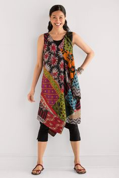 Patched Draped Pocket Dress by Mieko Mintz (Cotton Kantha Dress) | Artful Home