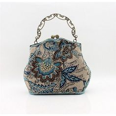 Retro Blue Beaded Victorian Wedding Bridal Evening Clutch Bags Purses SKU-1110140
