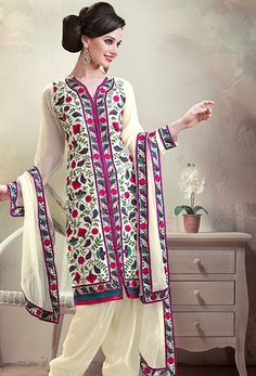White Georgette Designer Pakistani Salwar Kameez Buy Now Get Free Shipping! On All #Pakistani #Shalwar #Kameez