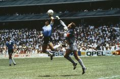 The Hand of G-d, one of the most controversial goals in soccer history, occurred when Maradona scored as a result of an illegal, but uncalled handball, in the quarterfinal match of the 1986 FIFA World Cup between England and Argentina. World Football, Soccer World, Sport Football, World Of Sports, American Football, Mexico 86, Mexico City, Argentina Football, Diego Armando