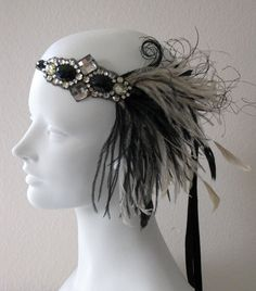Jazz Age Flapper Feather Headband Champagne And por BaroqueAndRoll, $68.00