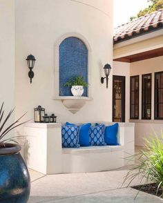 Classically Spanish Gorgeous outdoor patio with blue tile accents and pillows, in our unique Hacienda Chic style Spanish Style Decor, Spanish Style Homes, Spanish House, Spanish Design, Spanish Patio, Spanish Courtyard, Spanish Garden, Spanish Tile, Spanish Colonial