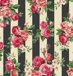 Rosie's Summer collection by STOFfabrics, roses on stripes - Tapeten Ideen Flower Backgrounds, Flower Wallpaper, Pattern Wallpaper, Wallpaper Backgrounds, Vintage Floral Backgrounds, Striped Wallpaper, Decoupage Vintage, Vintage Paper, Cellphone Wallpaper