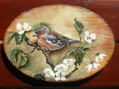 Brîndușa Art Painted wall plaque: a male chaffinch on a tree branch, to cheerfully greet spring… Acrylics on wood.  Placă de lemn pictată: un cintezoi, pe o ramură de copac, salutând vesel primăvara…Culori acrilice pe lemn. #spring #primavara #birds #blooms #blossoms #woodpainting #picturapelemn Image Transfers, No Image, Heavenly Father, Painting On Wood, Decoupage, Shabby Chic, Cottage, Birds, Gallery