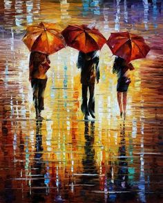 LEONID AFREMOV Three Red Umbrellas - New favorite modern artist!