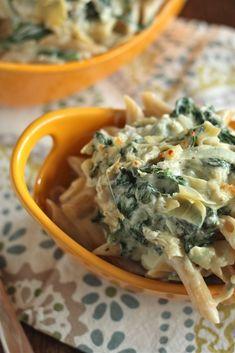 Artichoke Spinach Mac n Cheese. Add turkey meat or chicken Add Tomatos Use artichoke recipe of 1/2 mayo and 1/2 sour cream (healthier)