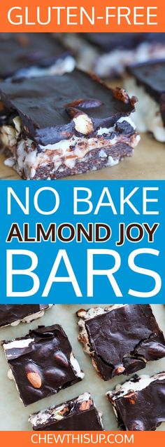 Meet my new crush - No Bake Almond Joy Bars. I'm cheating on pizza with chocolate (please, don't tell anyone). And, not just any chocolate – these almond joy bars. I've made them six times this week! They are gluten free, grain free, and egg free! Gluten Free Brownies, Gluten Free Cakes, Gluten Free Baking, Gluten Free Desserts, Healthy Dessert Recipes, Easy Desserts, Baking Recipes, Cookie Recipes, Sweet Desserts