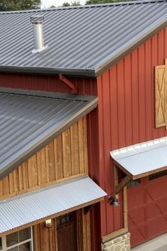 Rustic Red Siding and Burnished Slate Colored Roof (tiny cabins metal roof) Metal Building House Plans, Metal Shop Building, Building Ideas, Steel Siding, Steel Roofing, Corrugated Roofing, Roofing Felt, Tin Roofing, Roofing Shingles