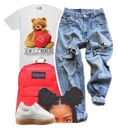 """""""you fine af"""" by yeauxbriana ❤ liked on Polyvore featuring JanSport, Levi's and Puma"""