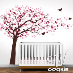 Cherry Blossom Tree with Birds  - Nursery Wall Decal - Red & White Flowers - For Kira