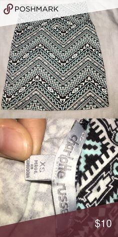 Bodycon Skirt Aztec print bodycon skirt from Charlotte Russe. Only worn once and is like brand new. No color fade. Super cute! Size: XS Charlotte Russe Skirts Mini
