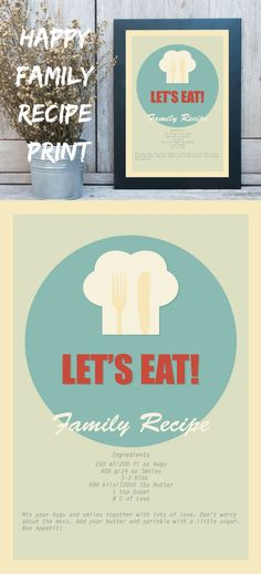 Happy Family Recipe Art Print for your kitchen. Funny recipe for your family. Check on restylegraphic.com | Art & Collectibles Drawing & Illustration Digital retro poster let's eat kitchen art kitchen decor kitchen quote extra large poster kitchen print minimalist art farmhouse decor rustic decor industrial home Personalized recipe custom recipe print