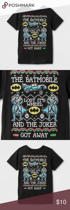 NEW Boys' DC Comics Batman Short Sleeve Black Tee holiday fun t-shirt. Batman doing jingle bells. The Batmobile Lost It's Wheel And The Joker Got Away.  available in size S | M new without tags  color: black  @cjrose25  More kids clothes in my posh closet. Bundle your likes for a discount & save on shipping. Batman Shirts & Tops Tees - Short Sleeve