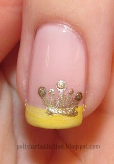 Crown Nail Art, would be better with a purple tip... But I still love it!