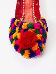 Sunday Scaries Slipper | Colorful statement slides featuring puffy pom accents covering the top of the foot.    **Please Note:** All sandals are completely handmade, a slight variation in size or fit may occur.