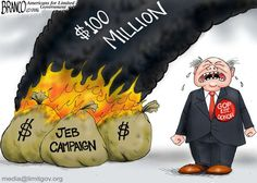 GOP Establishment Money - went up in smoke with the Jeb bush campaign. Political Cartoon by A.F.Branco ©2016