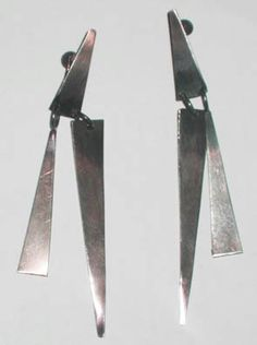 """Art Smith. Sterling silver, ca.1950's. One of the leading modernist jewelers of the mid-twentieth century, Smith trained at Cooper Union. Inspired by surrealism, biomorphicism, and primitivism, Art Smith's jewelry is dynamic in its size and form. Although sometimes massive in scale, his jewelry remains lightweight and wearable. See """"From the Village to Vogue: The Modernist Jewelry of Art Smith""""."""